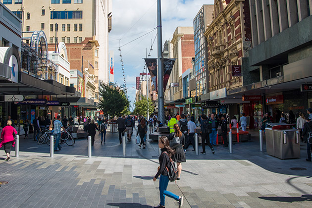Wide angle shot of completed bollards project at Rundle Mall