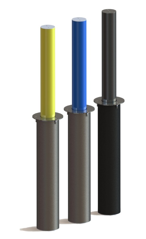 Three retractable gas-lift bollards