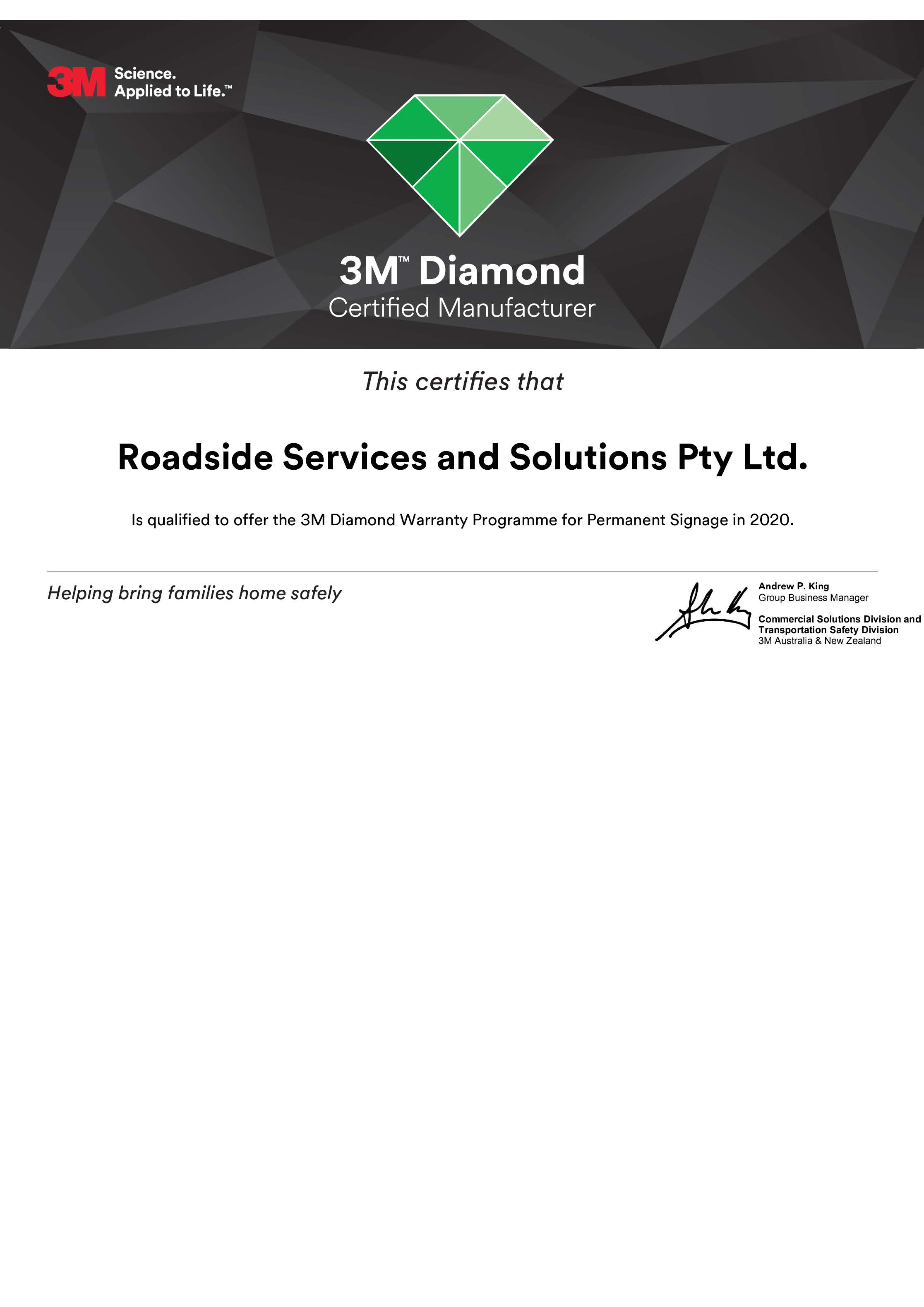 3M Diamond Certified Manufacturer Certificate