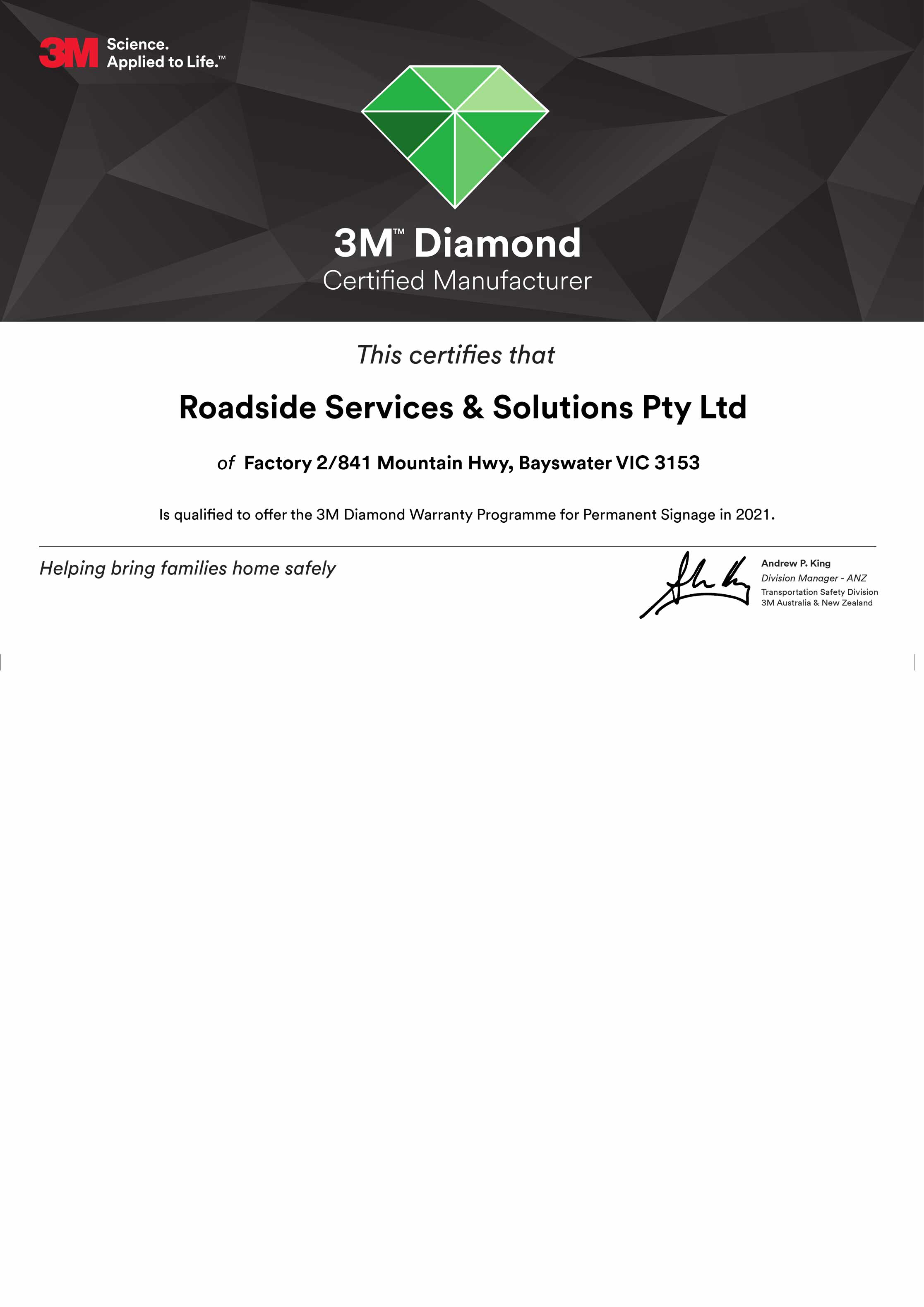 3M Diamond Certified Manufacturer Certificate