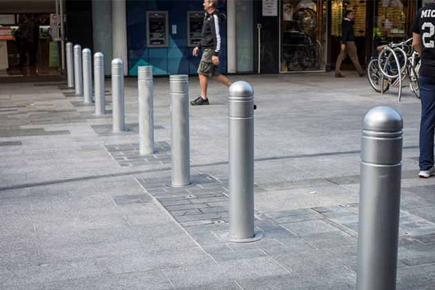 Rundle Mall retractable bollards