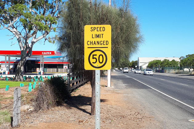 New traffic speed limit sign