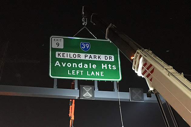 Freeway sign installation