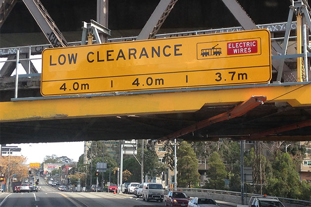 Clearance bridge signage