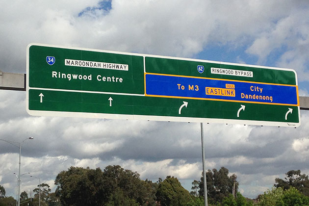 Gantry freeway road signs