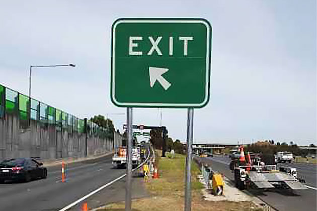 Freeway exit directional road sign
