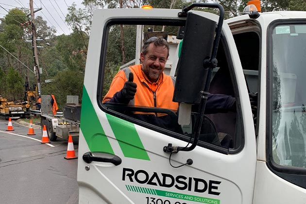Roadside worker on site