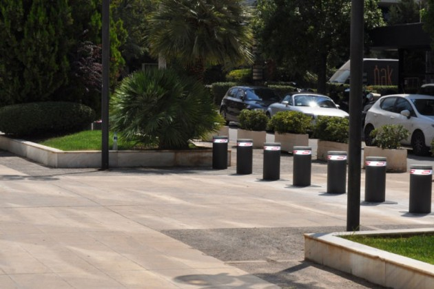 Hostile vehicle mitigation bollards in pedestrianised area