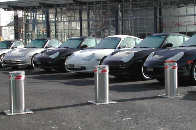 Hostile vehicle mitigation bollards in carpark