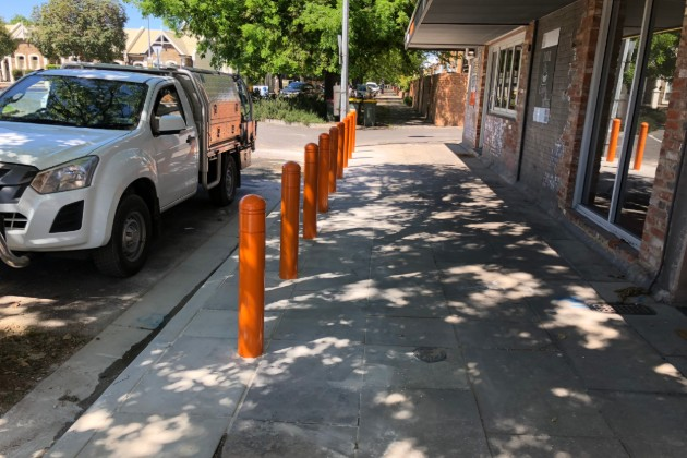 Police station impact absorbing bollards