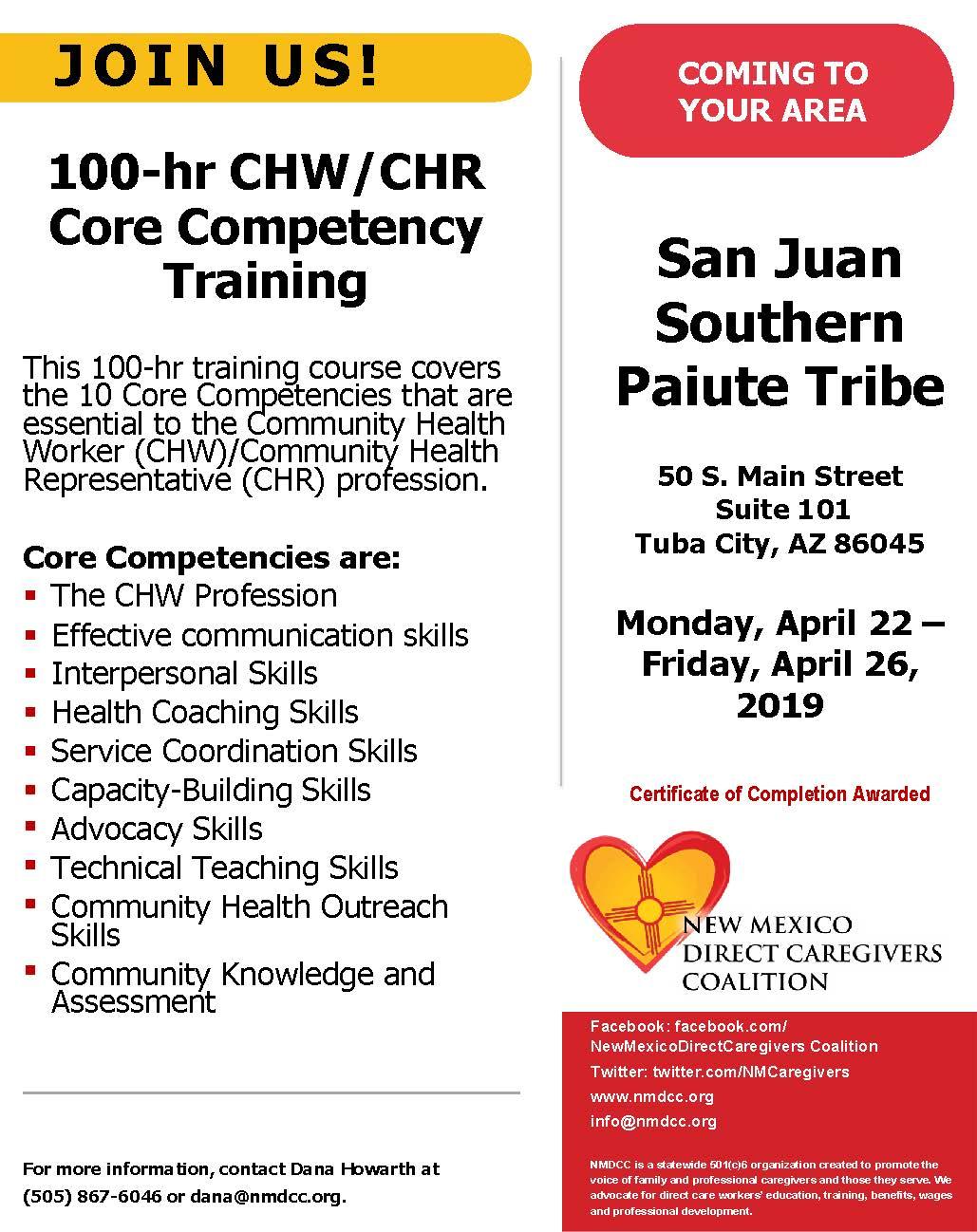 100-hr CHW/CHR Core Competency Training | San Juan Southern