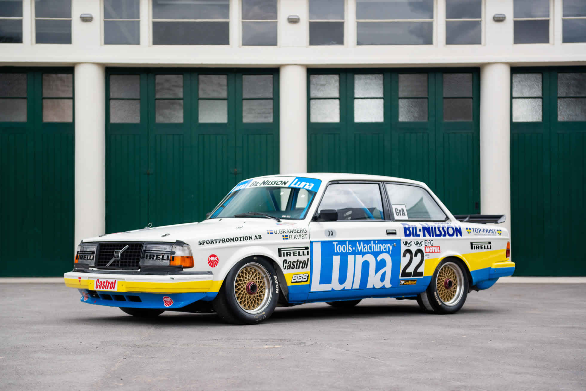 Front view For Sale 1984 Volvo 240 Turbo Group A, Sports Purpose Bicester Heritage,