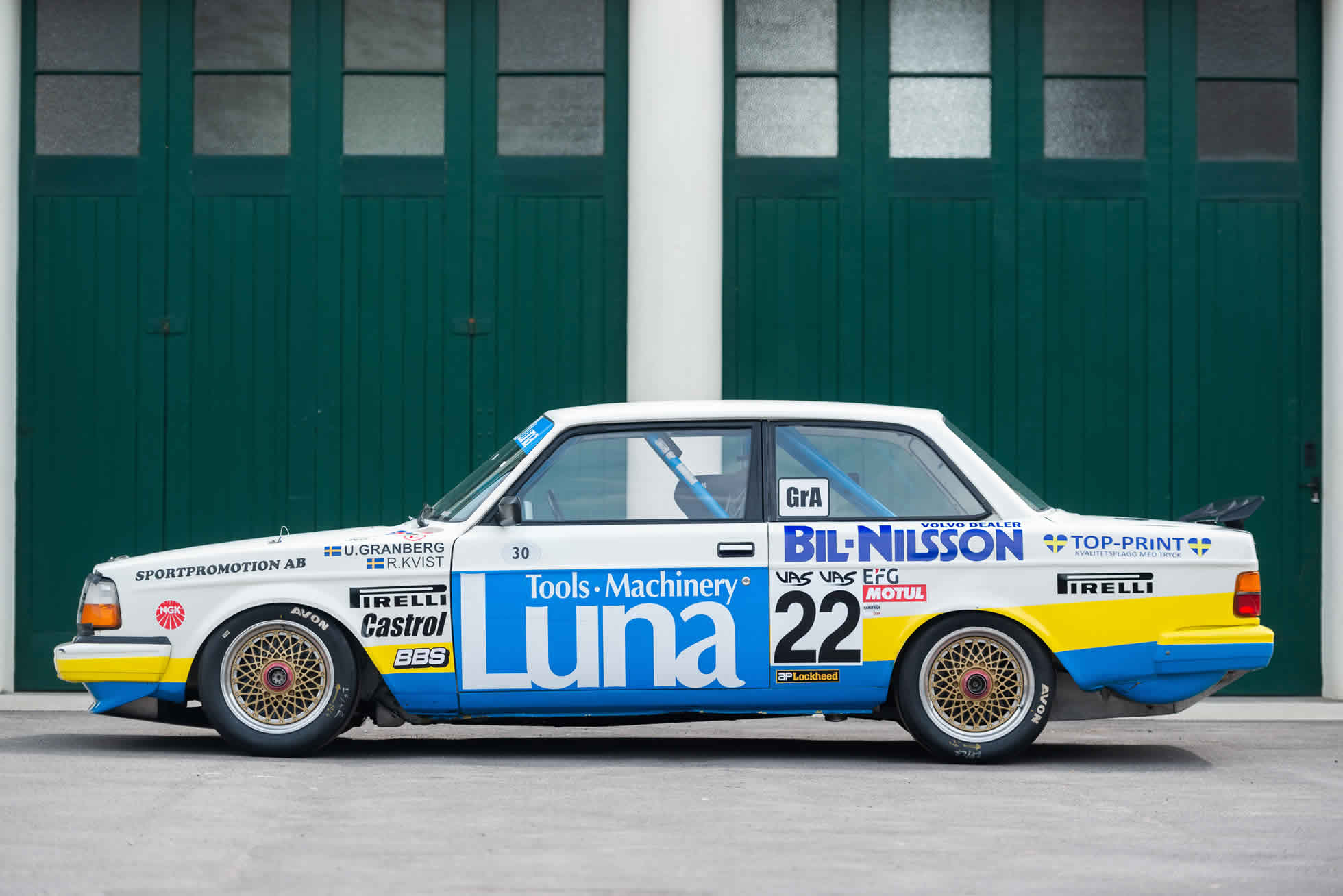 Side view For Sale 1984 Volvo 240 Turbo Group A, Sports Purpose Bicester Heritage,