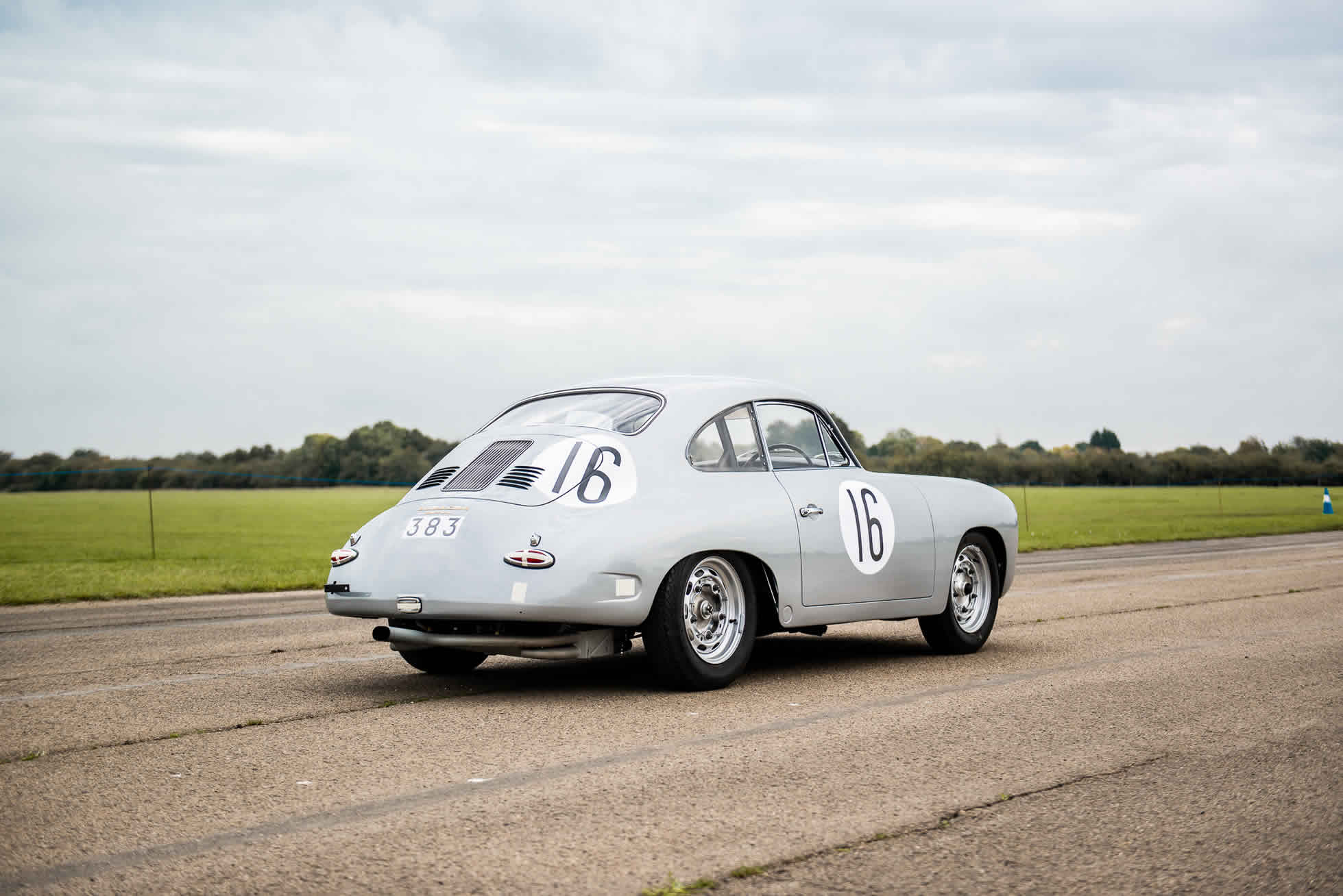1961 Porsche 356B Carrera GT. For sale at Sports Purpose, Bicester Heritage, Oxon- rear quarter view