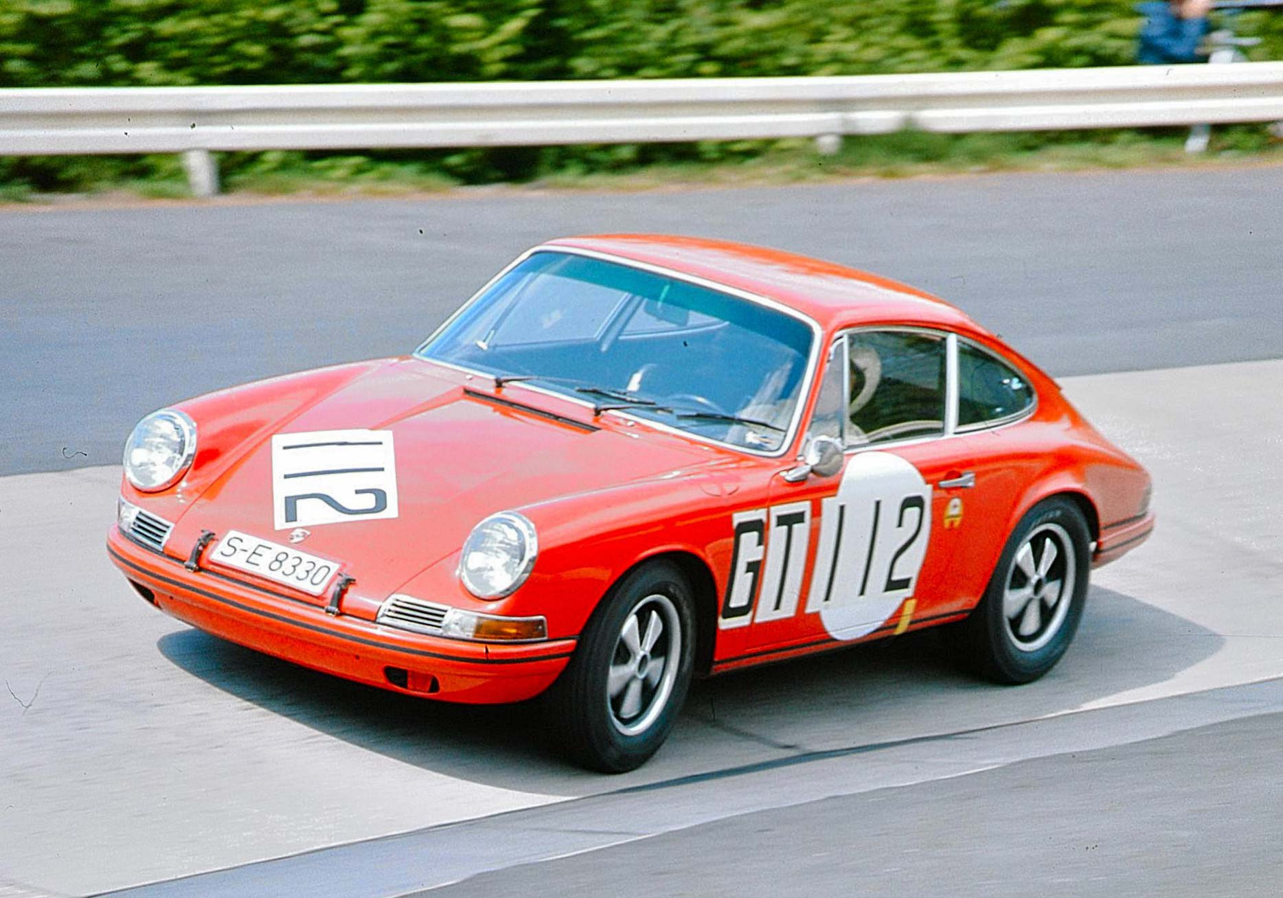 French skiing champion Jean-Claude Killy driving a 911T at the 1968 Nurburgring 1000k