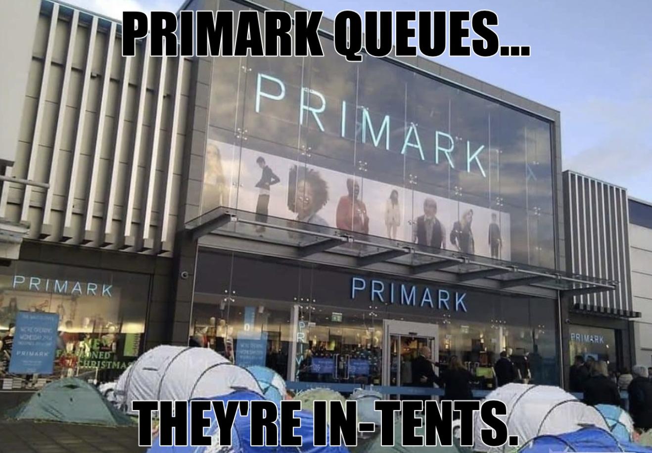 Primark queue lineup meme Freetrade