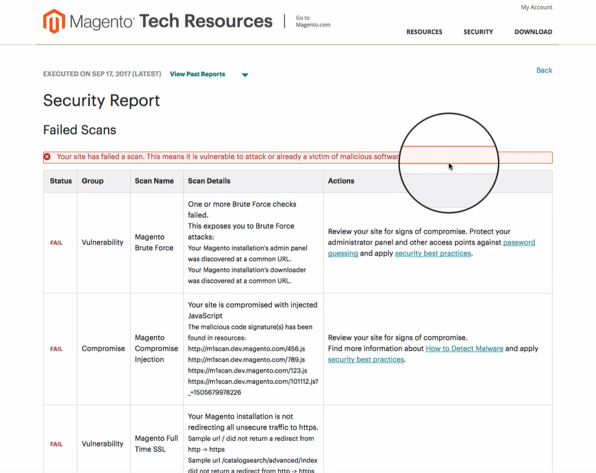 magento security scan failed