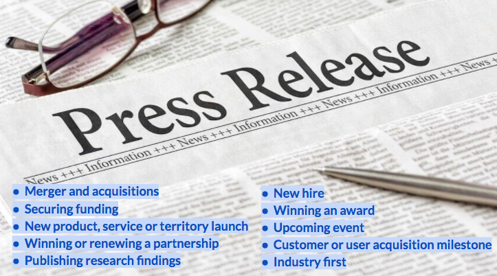 An infographic showing a list of press release types