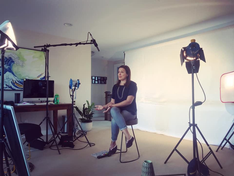 Beth behind the scenes with cameras