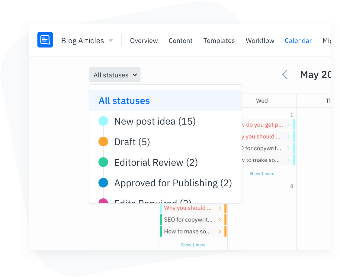 GatherContent Content Calendar UI - Filter by content status