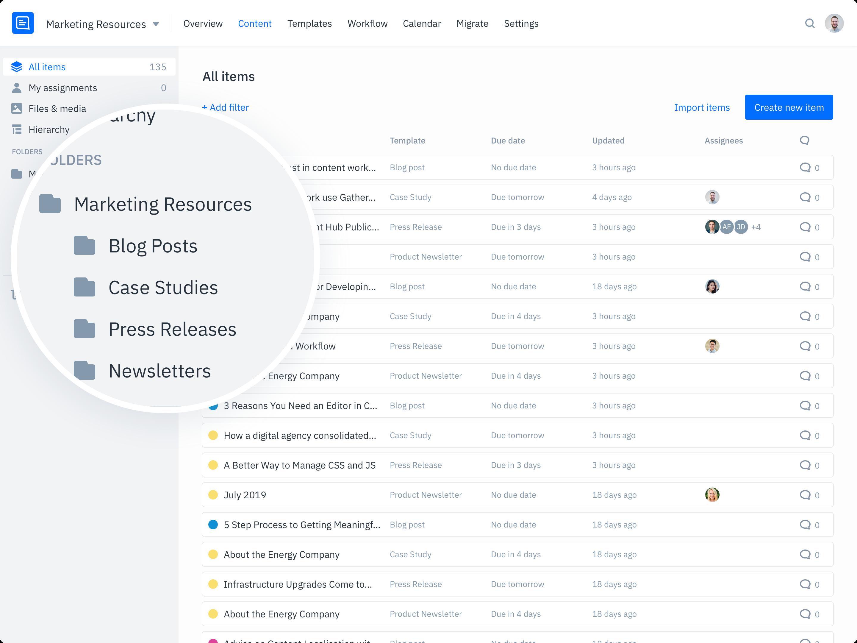 GatherContent Content Hub UI