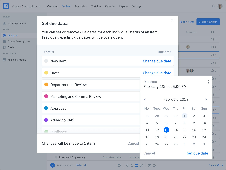 GatherContent Content Deadline Management UI