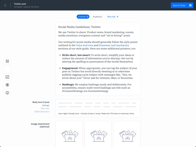 GatherContent Content Template Builder UI - Social Content
