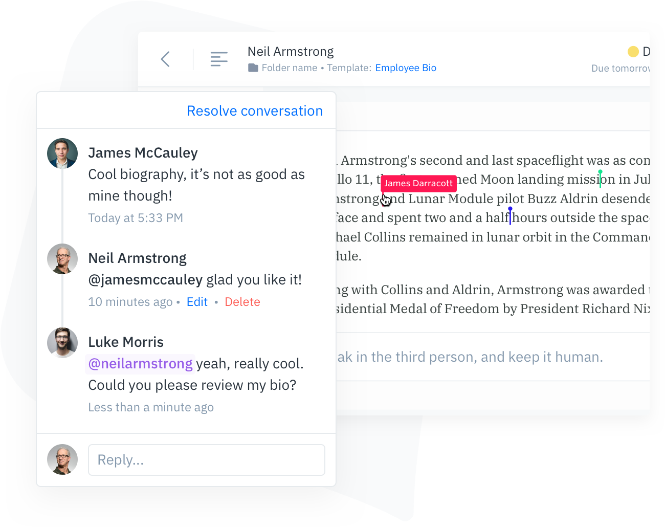 GatherContent Content Editor Commenting UI