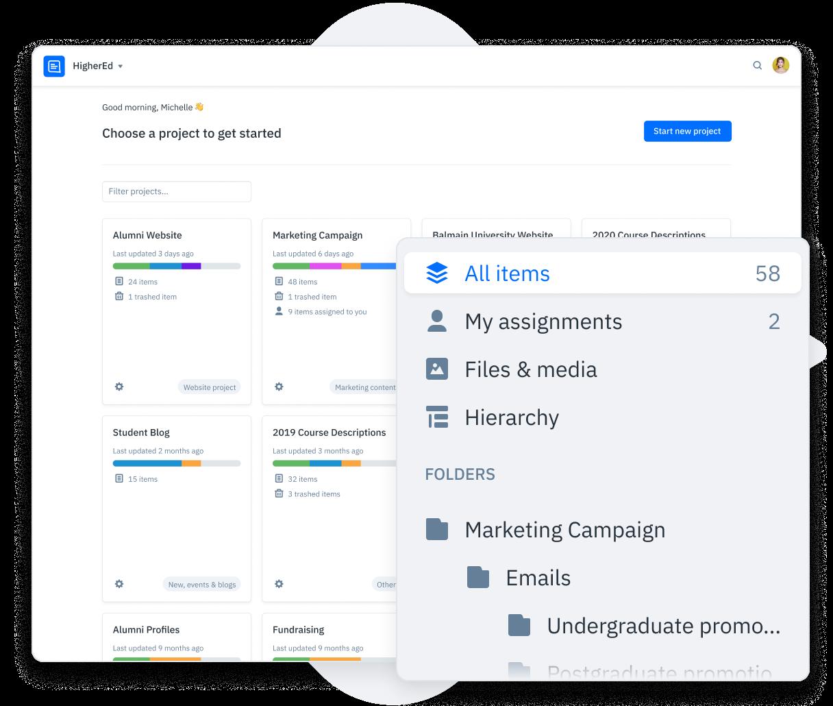 GatherContent Content Dashboard UI