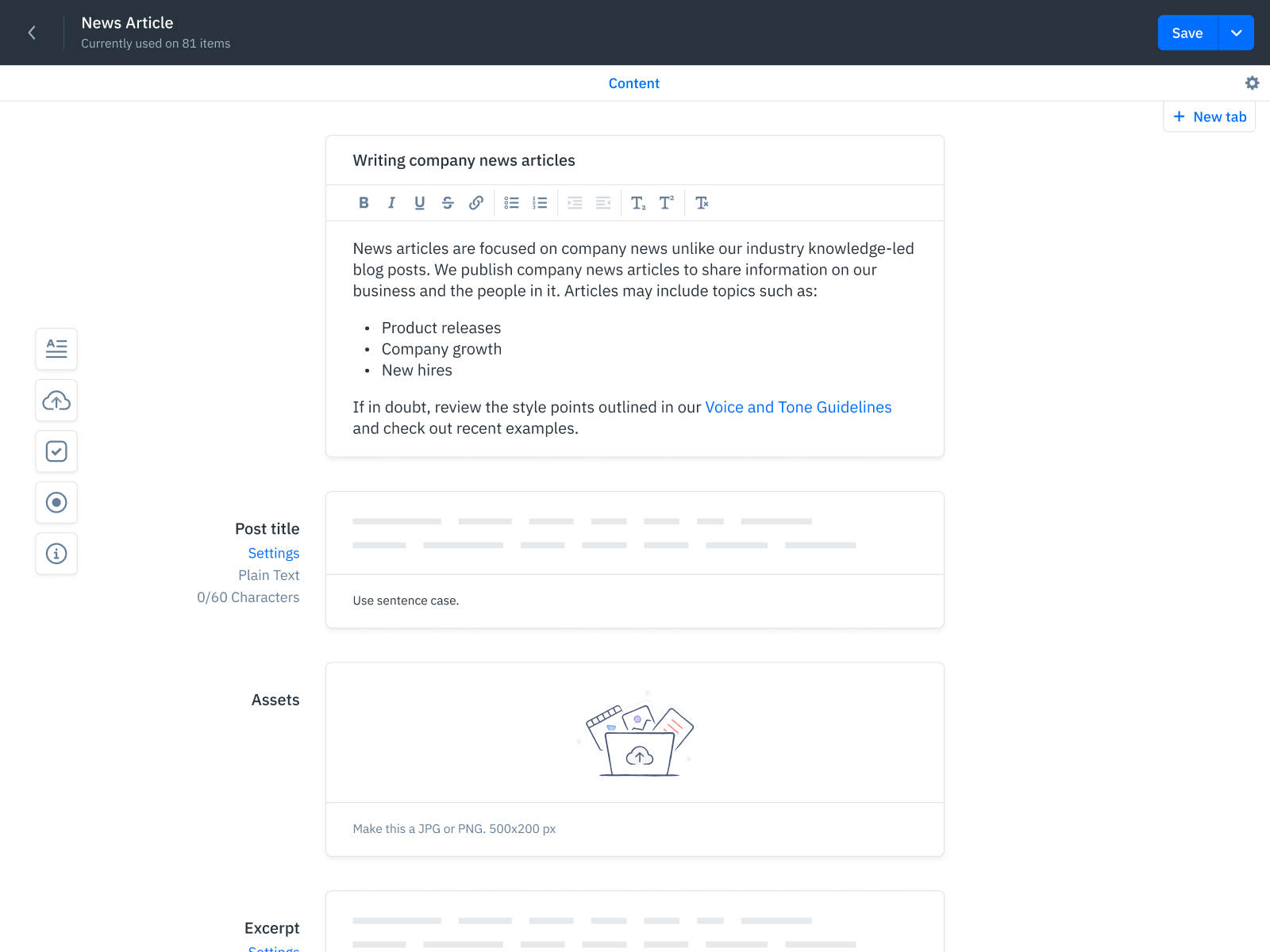 GatherContent Content Workflow UI