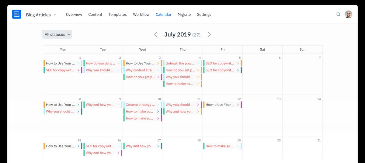 GatherContent Content Calendar UI