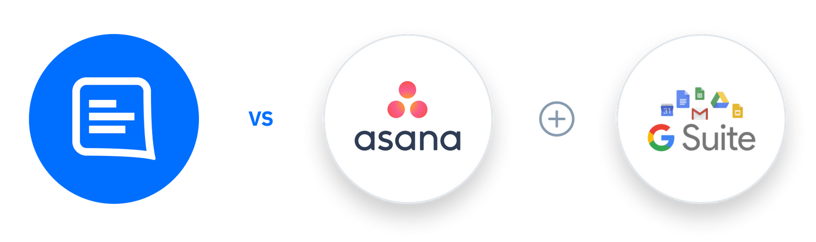 GC logo Vs Asana + G Suite logo