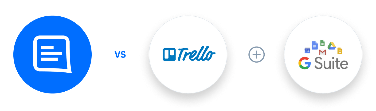 GC logo Vs Trello + G Suite logos