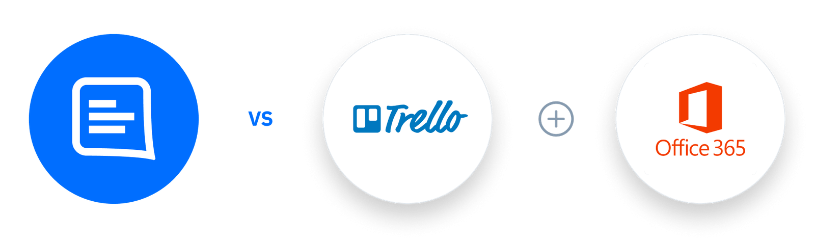GC logo Vs Trello + Office 365 logos