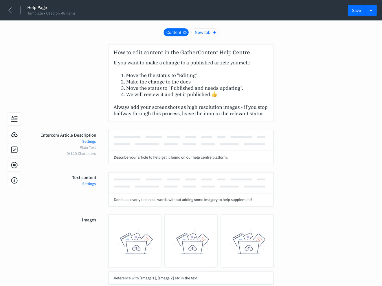 GatherContent Content Template UI