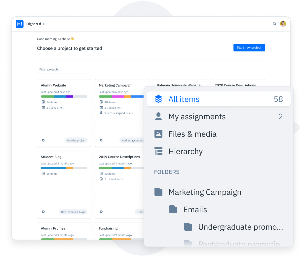 GatherContent Content Dashboard UI