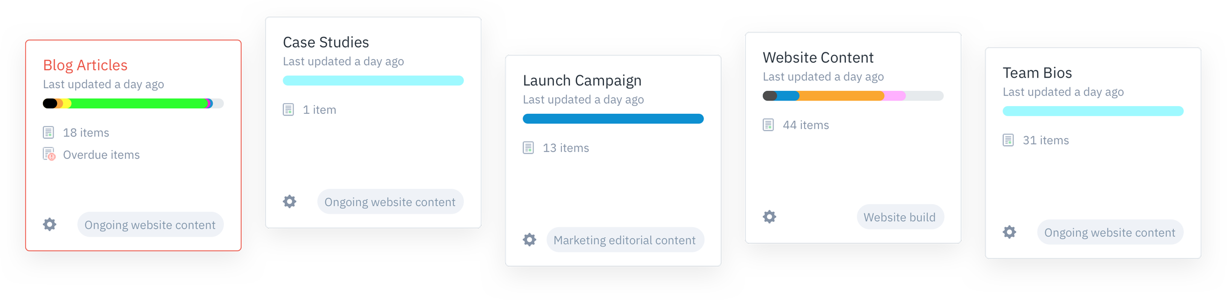 GatherContent Project Card UI