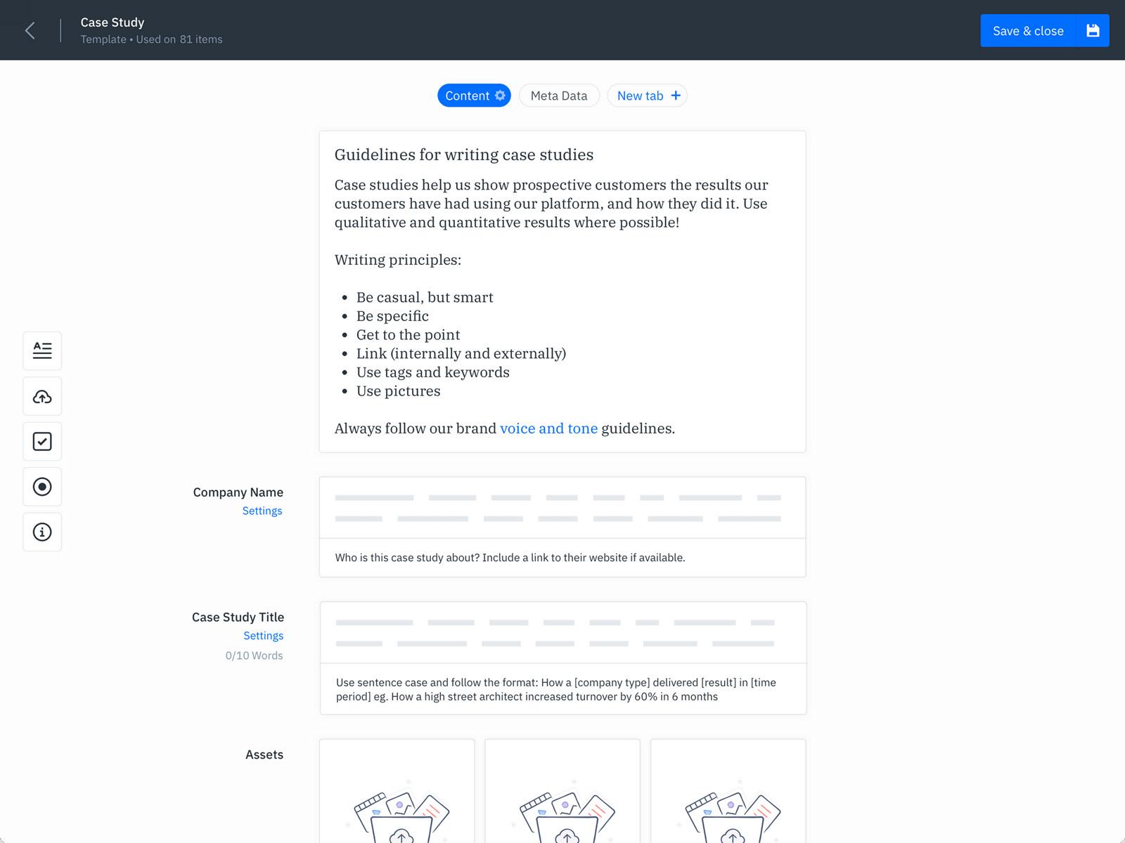 GatherContent Content Template Builder UI - Website Content