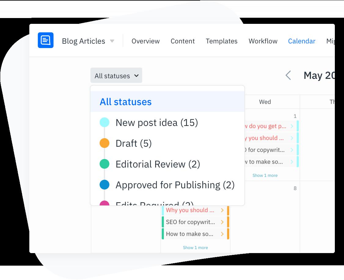 GatherContent Content Calendar UI - Filter by content status
