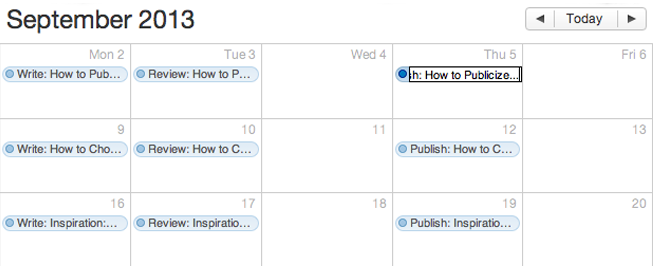 a screenshot of a populated calendar with workflow stages highlighted