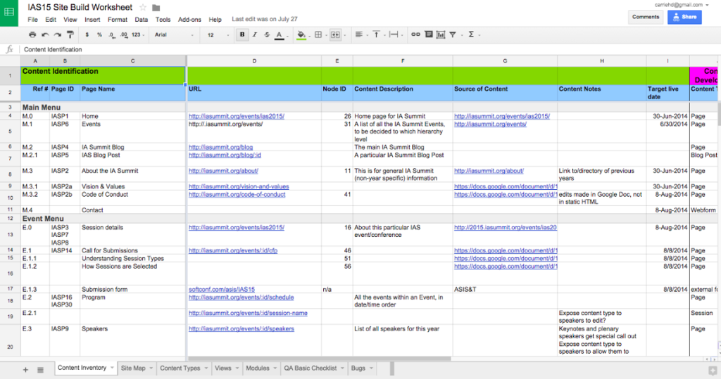 A screenshot of a spreadsheet which is a Content Inventory Worksheet. It shows a list of website page titles such as Home, Events, and Code of Conduct for a conference website. It also shows the columns for the worksheet such as URL, Node ID, content description, source of content, content notes and target live date.