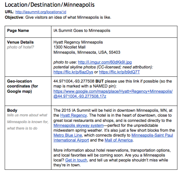 Image shows an example of a content spec sheet for a conference location. It lists the content item, URL and objective. The example shows the completed information for the page name, venue details, geo-location and body copy.