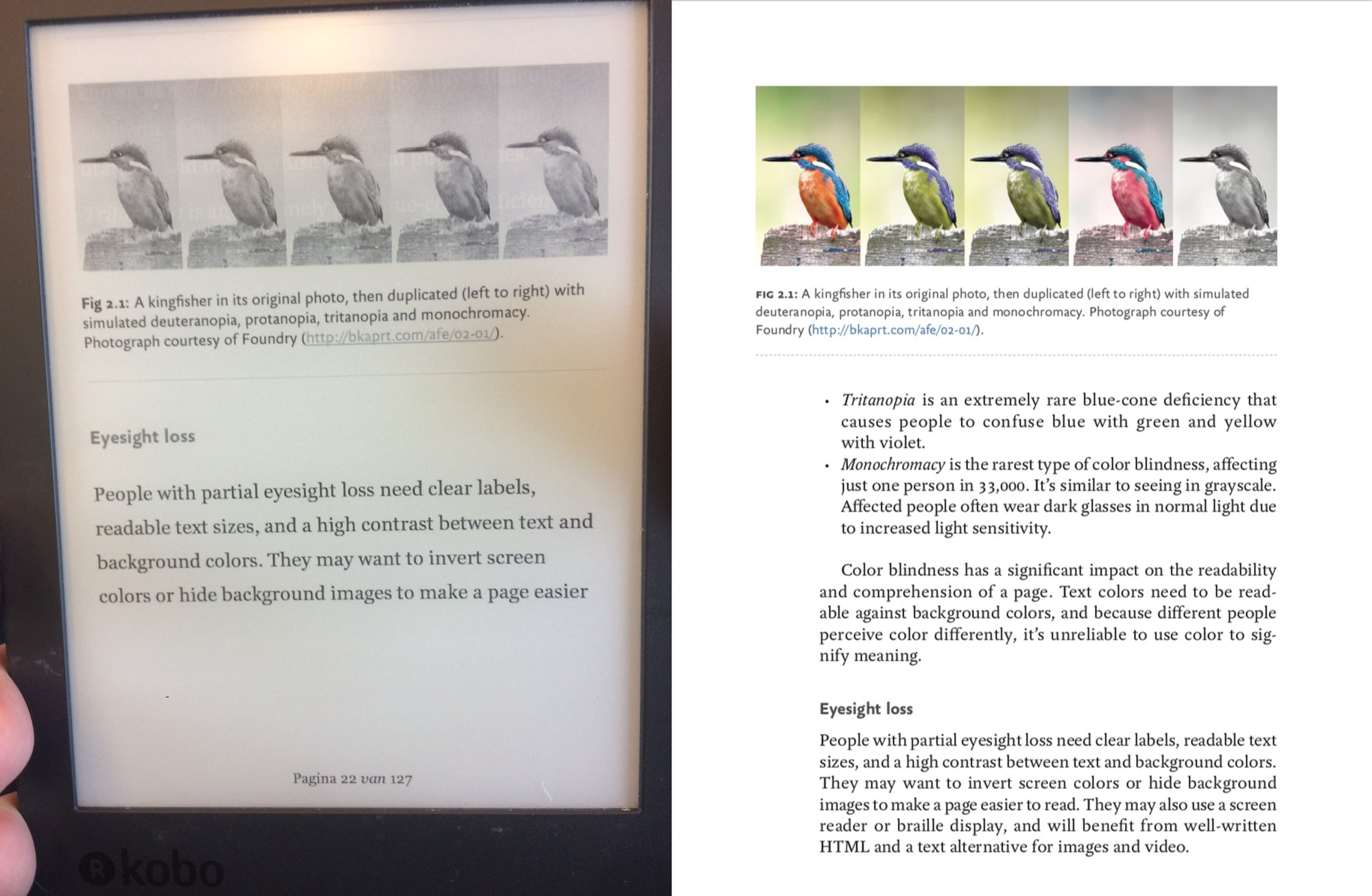The e-reader shows the comparison images all in greyscale, so they are indistinguishable from one another