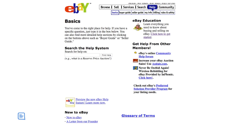 ebay Homepage from 2001
