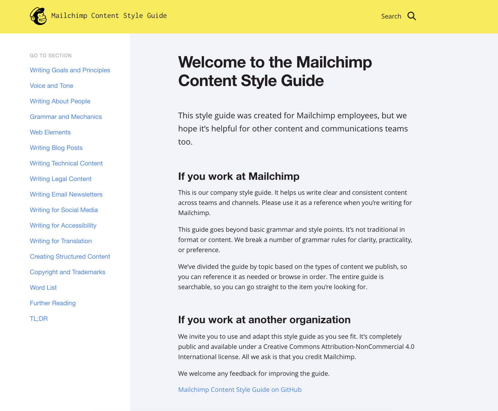 A screenshot of the Mailchimp content style guide homepage