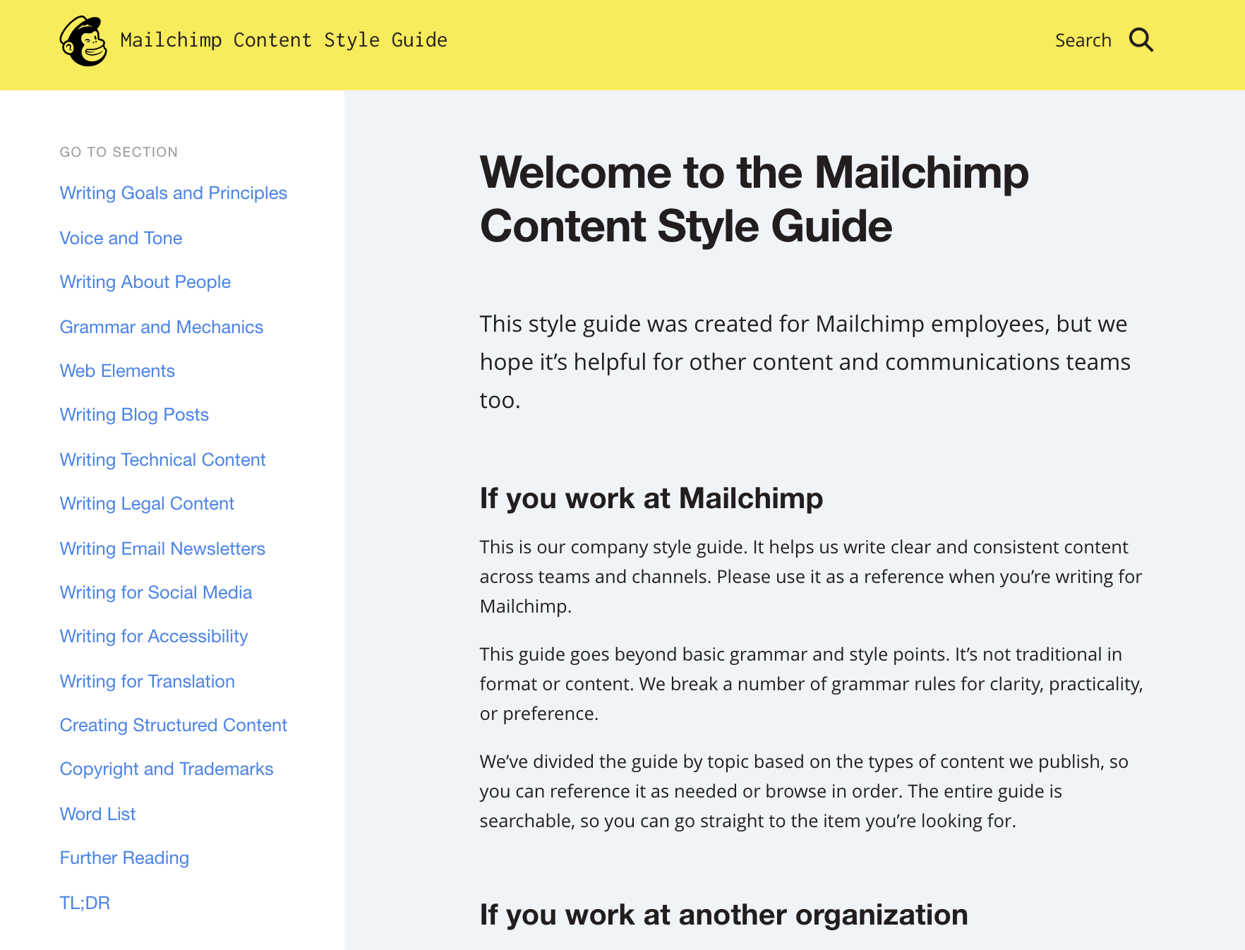 The Macilchimp content style guide homepage