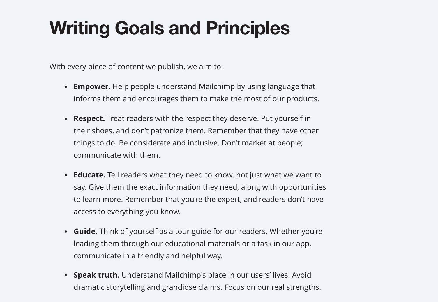 An image of the writing goals and principles from the Mailchimp content style guide