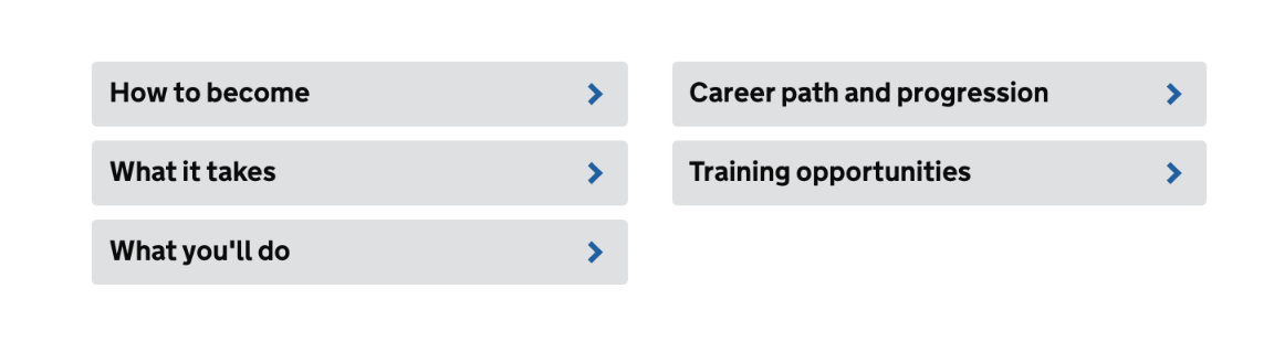Subheadings on GOV.UK secondary school teacher profile information page