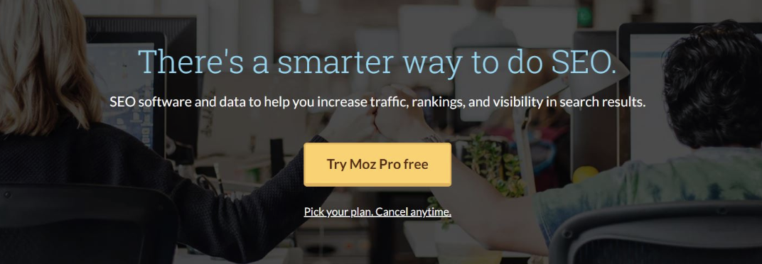Example of a call to action on the Moz website which says Try Moz Pro free