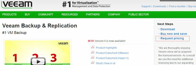 Veeam website homepage with arrow pointing to call to action microcopy that says request pricing.